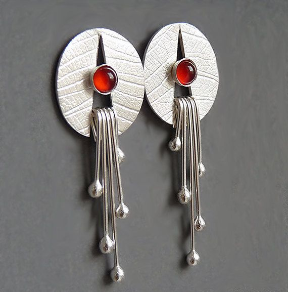 Pendientes de plata con cornalina plata de ley por Kailajewellery