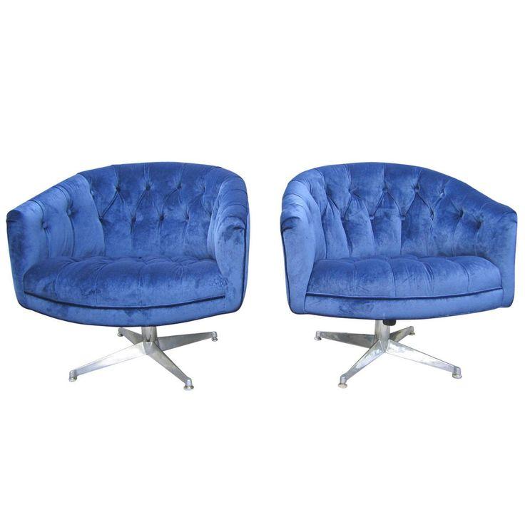 Pair of Ward Bennett Swivel Club Chairs, Mid-Century Modern
