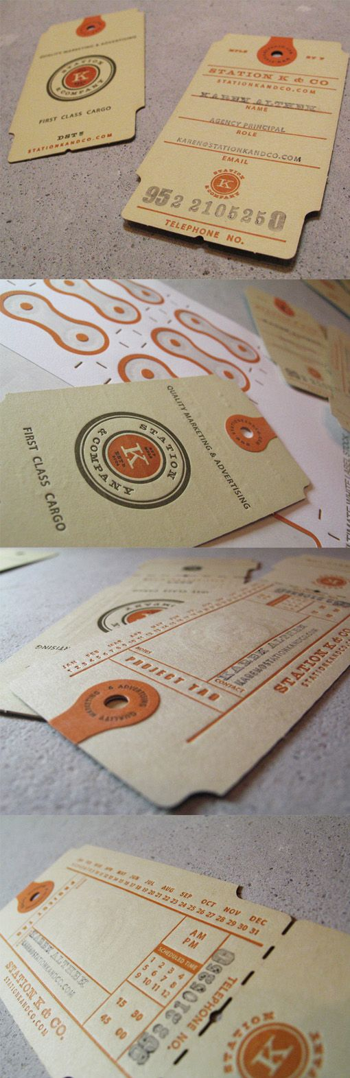 Vintage Style Custom Die Cut And Letterpress Luggage Tag Business Card Design