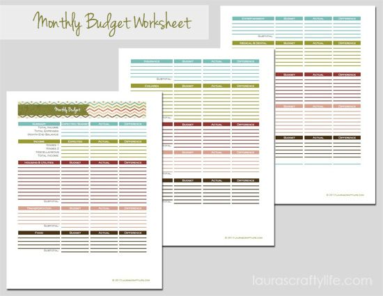 Click to download Monthly Budget Worksheet