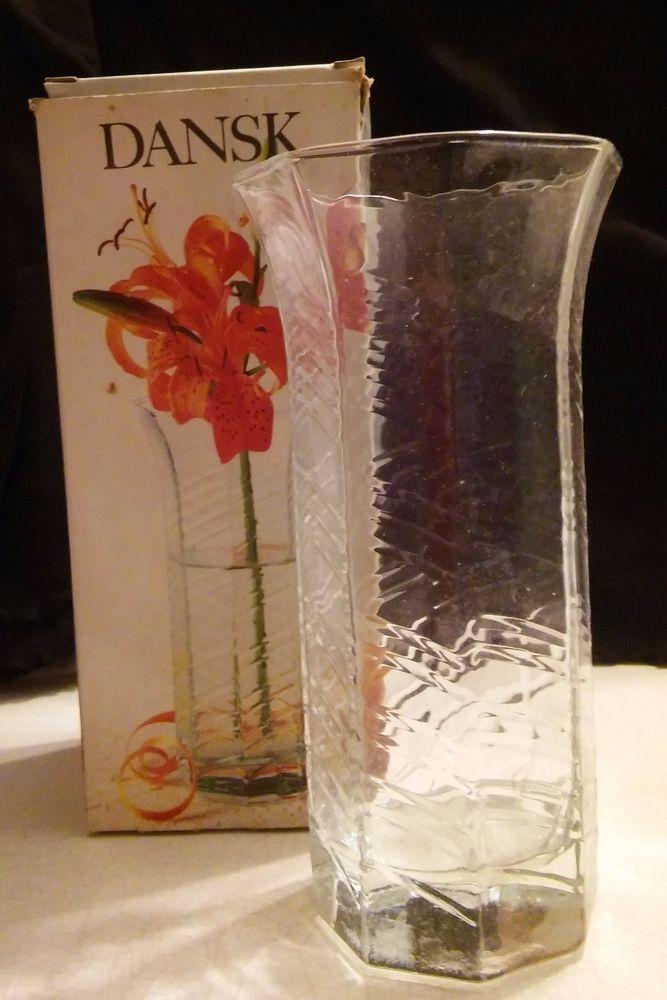 DANSK DESIGNS  *WILDFLOWER* GLASS VASE VTG   MADE IN BELGIUM   NIB #Dansk #Modern