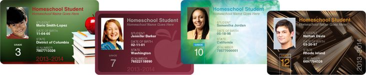 Free Homeschool ID Cards - http://thehappyhousewife.com/homeschool/free-homeschool-student-id-cards/