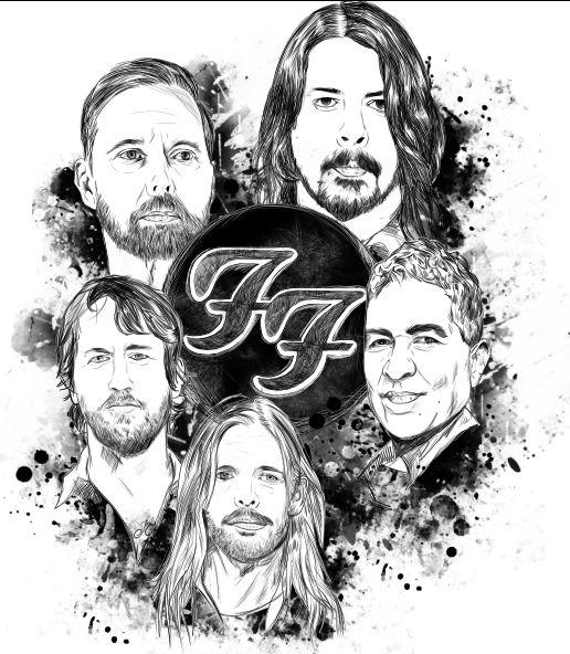 Ilustración de foo fighters para t-shirt