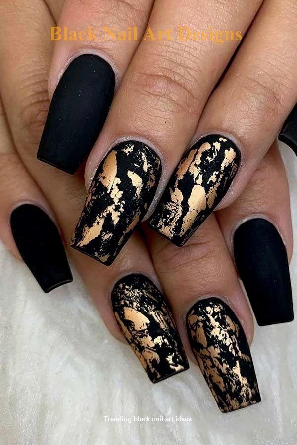 20 Simple Black Nail Art Design Ideas Nailart Gold Nail Designs Gold Nail Art Black Gold Nails