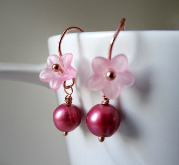 Pink pearl earrings, pink lucite flowers, dusky pink genuine freshwater cultured pearl dangles, rose gold,bridal jewellery, bridesmaids, boho. Handmade in the UK by ClaicoRoseStudio. click for more details.