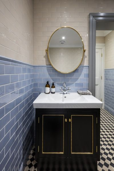 Blue and white subway bathroom wall tiles. Black and white traditional floor tiles. All from TileStyle.