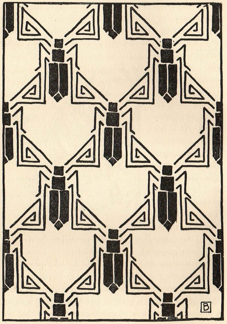 Art Deco Designs | Art Deco Insect Symbols Background ATC Free Image Black And White