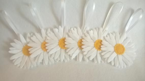 1 Metre Felt Blue Ribbon Flowers Daisy Leaves for Scrapbooking Card Making