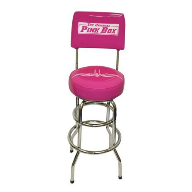 the original pink box swivel backed garage stool