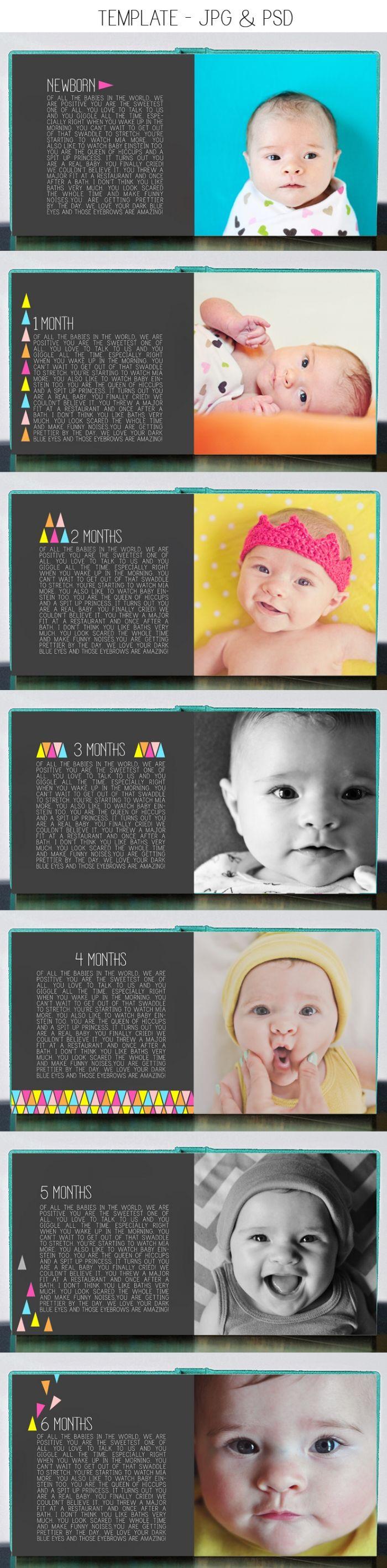 modern geometric baby first year photo book template $35
