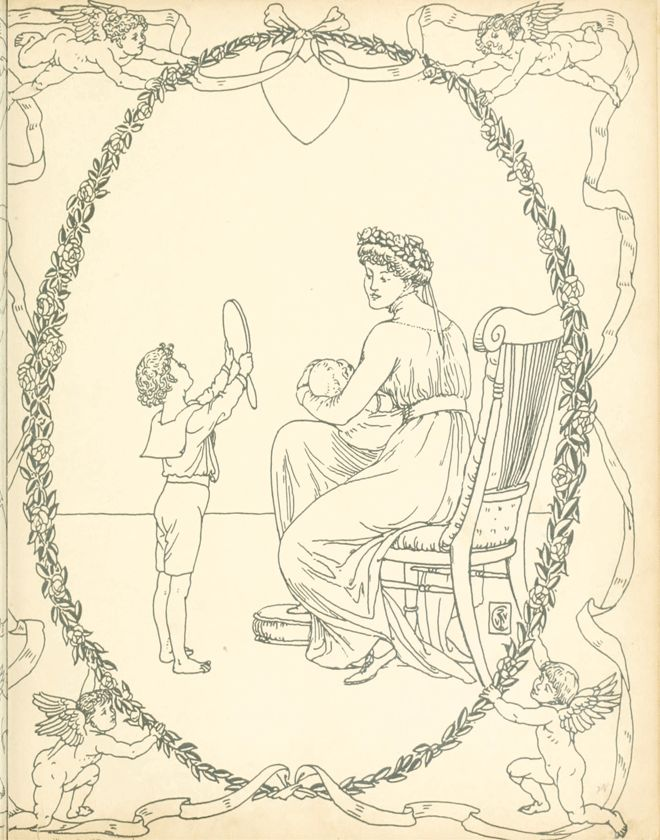 'My Mother' End Papers from 'Buckle My Shoe Picture Book' – Illustrated by Walter Crane http://www.amazon.com/gp/product/1444699962/ref=as_li_tl?ie=UTF8&camp=1789&creative=9325&creativeASIN=1444699962&linkCode=as2&tag=reaboo09-20&linkId=DFWNQEA5UZAPYIL6