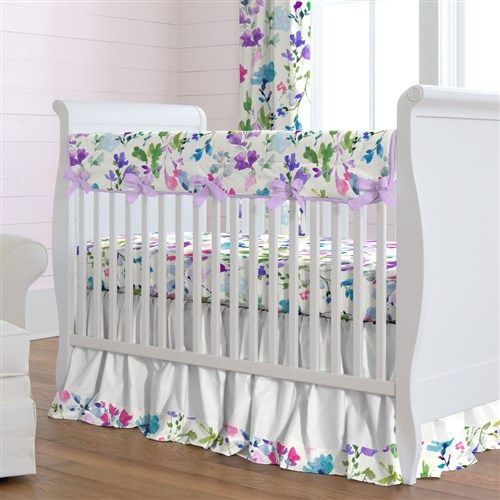 Wildflower Garden Crib Bedding by Carousel Designs.  Reminiscent of fields of wildflowers in the springtime, this stunning collection will fill your nursery with brightly colored flowers. Lovely hues of lilac, amethyst and teal combine perfectly in a watercolor effect to create this unique fabric.