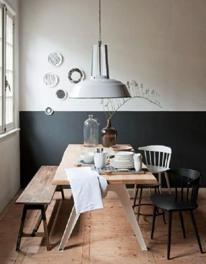 Dining Room Design Inspiration Add the mid century decor touch to your home interior design project. Pretty stock of sound wood dining tables at modish living. Sweet Home, Dining Room Design, Dining Area, Dining Rooms, Dining Sets, Small Dining, Half Painted Walls, Half Walls, Deco Cool