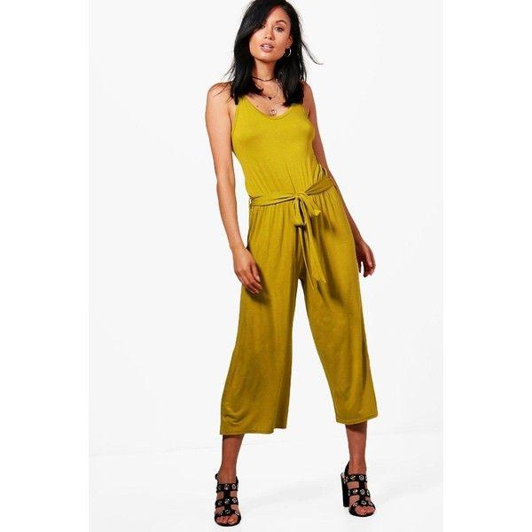 Boohoo Megan Tie Belt Culotte Jumpsuits ($30) ❤ liked on Polyvore featuring jumpsuits, boohoo jumpsuits, self tie belt, tie belt, white jumpsuit and jump suit