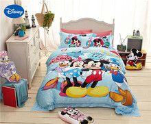 De Dibujos Animados de Disney Minnie y Mickey casa Club Impreso Juegos de Cama para Decoración Del Dormitorio de la muchacha Edredón Cubre la ropa de Cama de Satén de Seda Doble reina