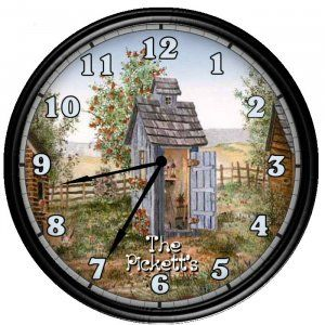 Personalized outhouse bathroom decor wall clock gift for Bathroom clock ideas