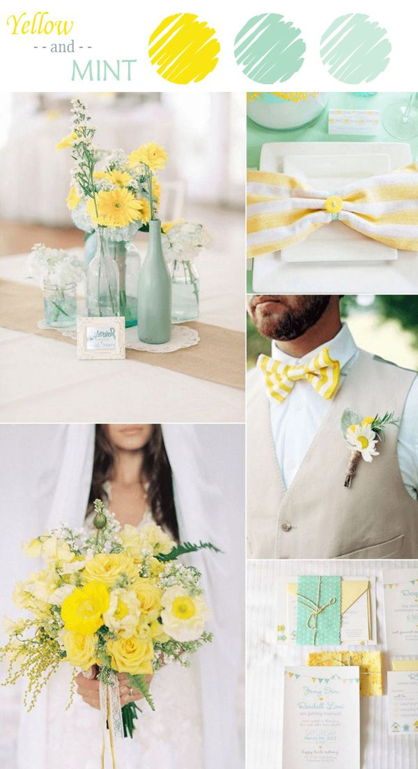 yellow and mint wedding color ideas for summer 2015