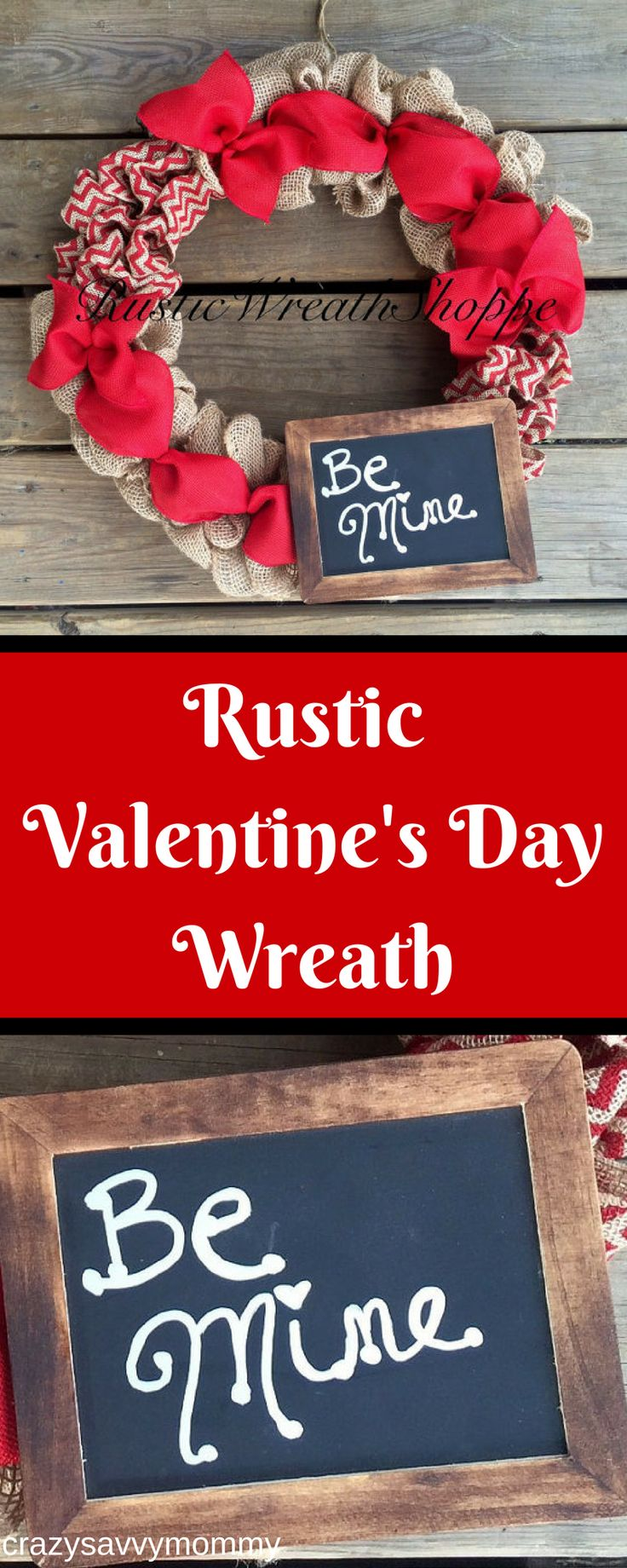 """PRETTY Rustic Valentine's Day Wreath. This wreath is made from natural burlap, red chevron burlap, and red ribbon. This wreath includes a hand stained and painted chalkboard with a """"permanent"""" handwritten """"Be Mine"""" message. DIY project ideas or click the link to get it NOW at Etsy.com! #valentinesdaycrafts #valentinesdayideas #valentinesideas #homedecor #rustichomedecor #ad"""