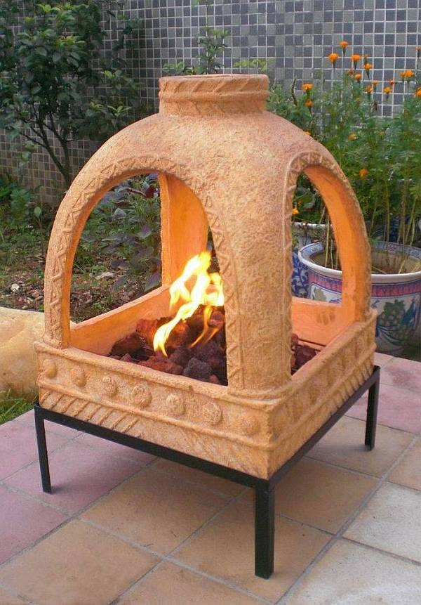 Adobe Fire Pit Yellow Gs81122 Desert Landscape Ideas
