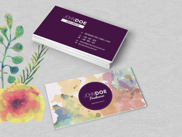 FREE Two Sided Watercolor Business Cards In Red And Purple