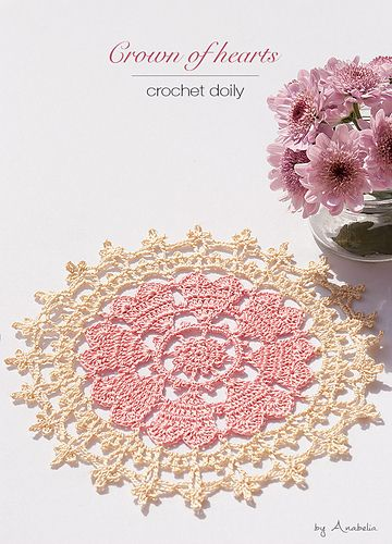 Crown of hearts crochet doilies are made in a run. A perfect item for lace crochet beginners.