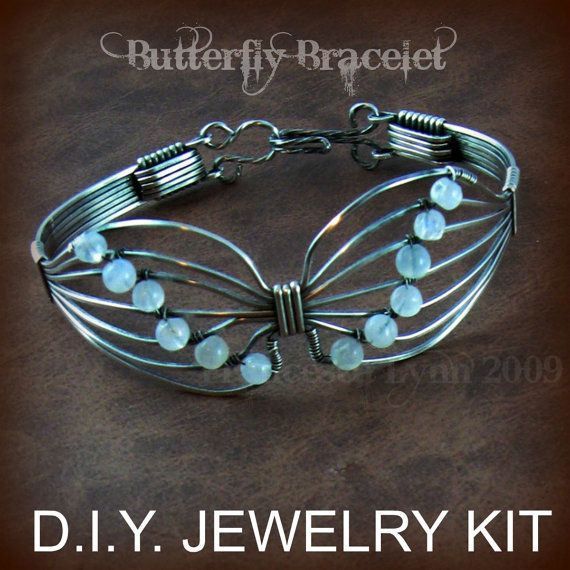 D.I.Y Jewelry Kit for a beautiful wire wrapped bracelet includes detailed step by step instructions, with photos for each step, and materials