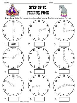 Handout for practicing telling time. Ages 4.5-5 M 3.6, 3.8, 4.21