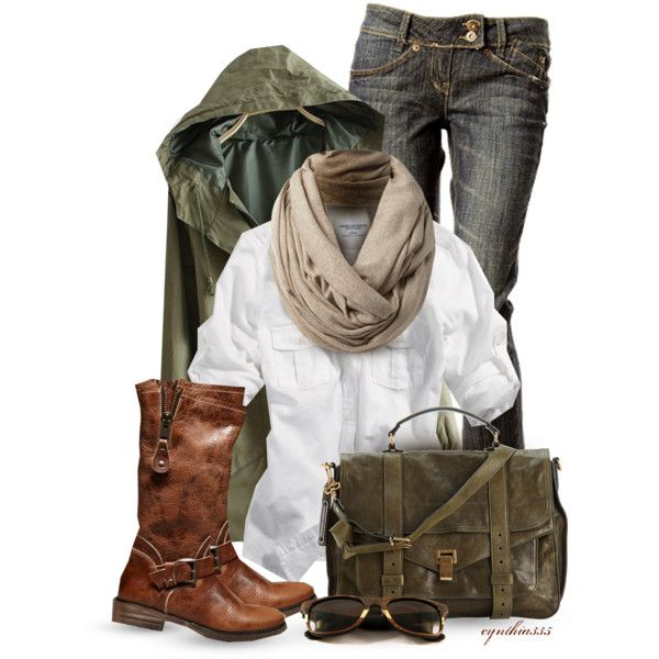 Military green jacket, white button down, scarf, jeans, brown boots. Luv it!!