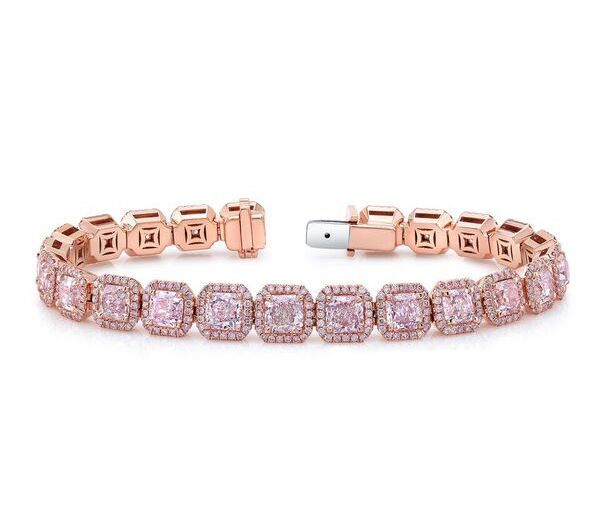Bracelet in 18k rose gold with 13.97 cts. t.w. pink radiant-cut diamonds and 2.25 cts. t.w. pink round diamonds, $441,833; Ounce Collection