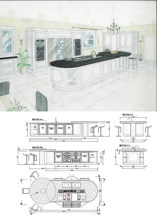 Autocad Kitchen Design Painting Enchanting Decorating Design
