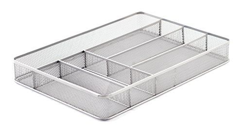 KD Organizers 6-Slot Large Mesh Drawer Organizer: Use as kitchen silverware or cutlery tray, desk drawer dividers for office supplies, bathroom accessories holder and more!