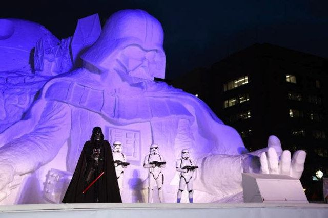 I Am Your Founding Father: Massive Darth Vader Mount Rushmore Snow Sculpture In Japan   Geekologie