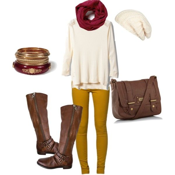 a cute outfit for fall, but change the leggings to reddish rust like from JCP