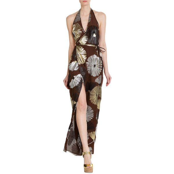 Dsquared2 Printed Silk Maxi Dress ($1,319) ❤ liked on Polyvore featuring dresses, brown silk dress, brown maxi dress, dsquared2, silk dress and maxi length dresses