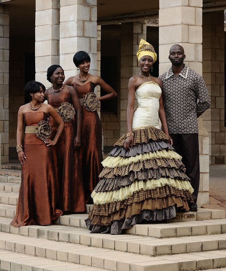 African couple with Bridesmaids