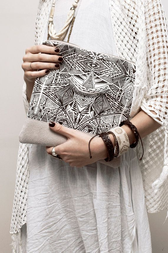 Tribal Pattern Printed  Leather Pouch No. ZP901 by CORIUMI on Etsy, $56.00