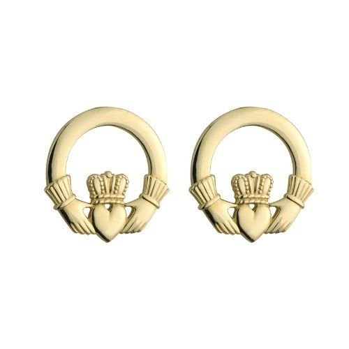 solid gold amazon traditional irish com claddagh yellow earrings dp stud