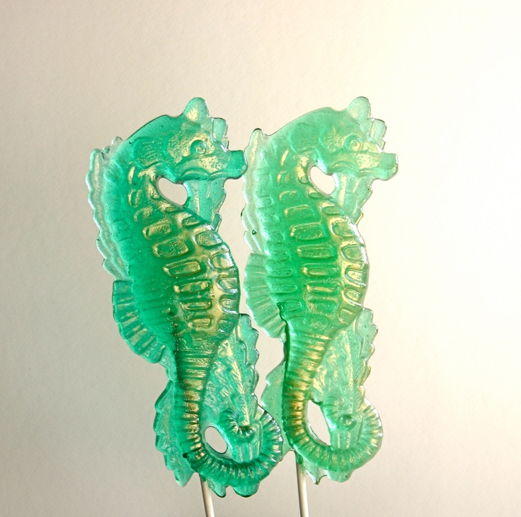 "These are edible candy!  So beautiful! Hard Candy Lollipops ""Enchantment Under The Sea"" Blue Hawaii Flavor -5 Vintage Inspired Seahorse. $80.00, via Etsy."