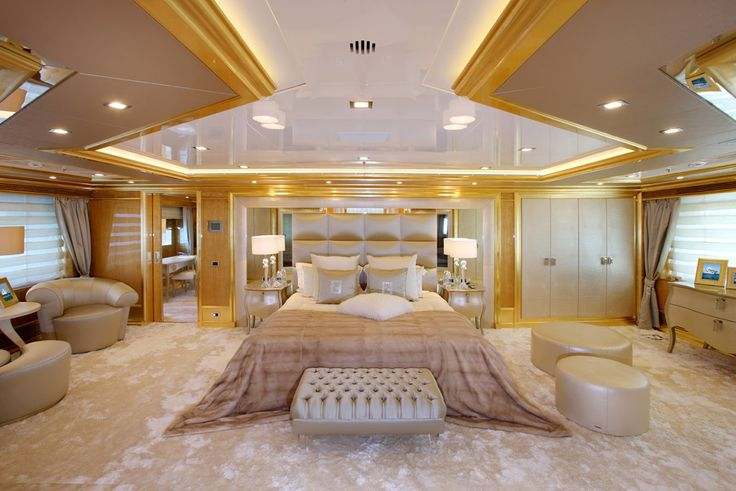 Master bedroom inside a yacht luxury yachts interior exterior design pinterest master - Inside luxury bedrooms ...