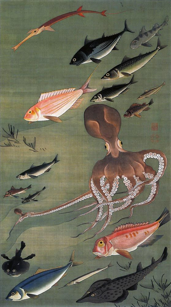 by 伊藤若冲  Jakuchu Ito  under the japanese sea