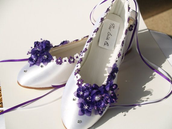 Wedding Flats Purple silk flowers, pearls, crystals, and ankle ribbons
