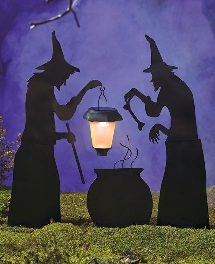 Halloween Decorations Witch Prop Outdoor Yard 3Pc Silhouettes Spooky Scene Stake