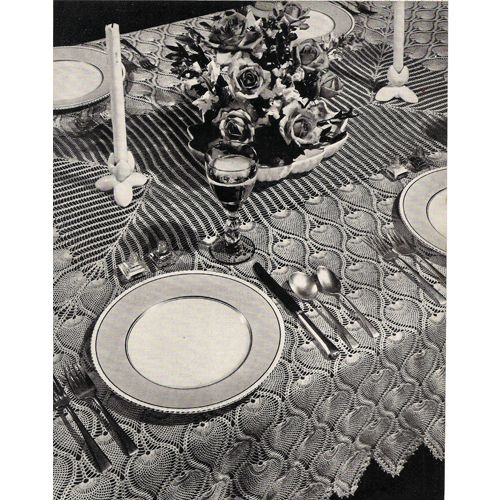Free Crochet Patterns Pineapple Tablecloth   Crocheted Pineapple Bedspread  Tablecloth Runner Pattern Is Vintage .