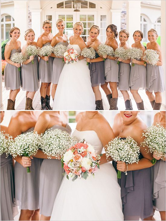 Bridesmaid idea: gray strapless dresses, babys breath bouquet paired with cowboy boots