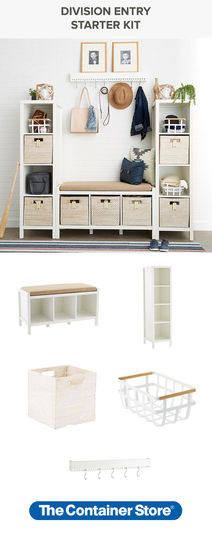 It's easy to get your entryway in order in one fell swoop with our Division Entry Starter Kit. It includes everything from our Division Storage Bench and Towers to baskets, cubes and a hook rack!