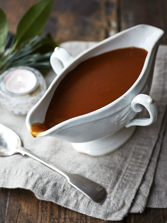 Vegan Gravy. Jamie Oliver calls for Marmite (Vegemite is another option) in this recipe to give it at deep, rich taste, but if you can't find it you might want to try using some dark miso paste or soy sauce/tamari. A mushroom-based bouillon paste is another option for that rich umami flavor.