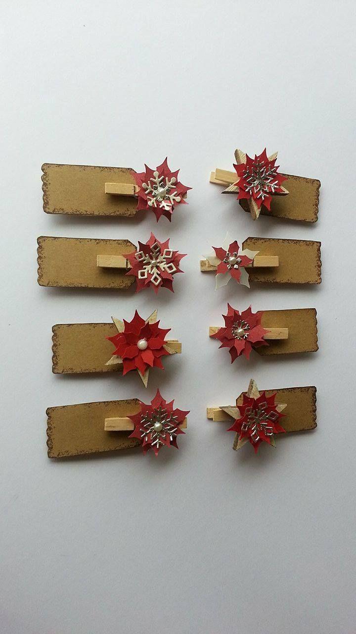 Stella Di Natale Con Perline.Segnaposto Natalizi Con Molletta Di Legno E Stella Di Natale