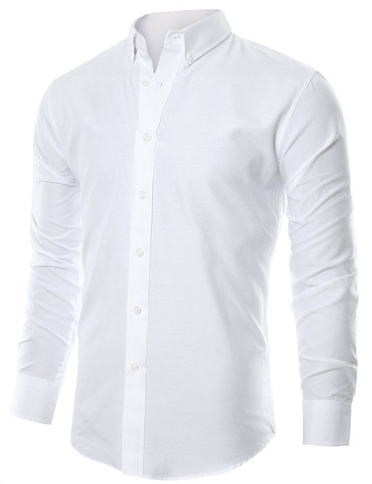 Ohoo Mens Slim Fit Long Sleeve Oxford Casual Button Down Shirt DCC002 WHITE Wedding ShirtsCollar