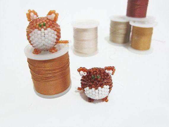 Funny beaded cat decoration beaded kitten beaded by DwarfsTreasure