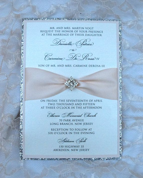 Silver Glitter and Blush Invitation Brooch by WrappedUpInDetails